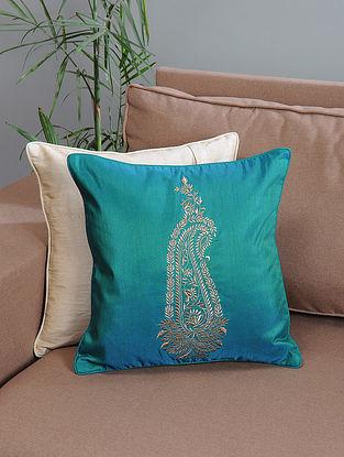 Aqua Ambi-Embroidered Cotton Cushion Cover with Zari