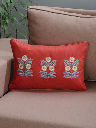 Red Embroidered Silk Cushion Cover with Floral Motif