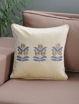Cream Embroidered Silk Cushion Cover with Floral Motif