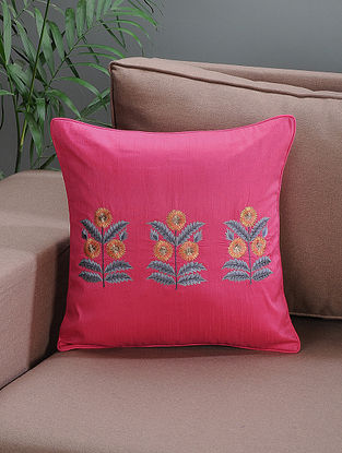 Pink Embroidered Silk Cushion Cover with Floral Motif