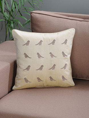 Cream Embroidered Silk Cushion Cover with Parrot Motif