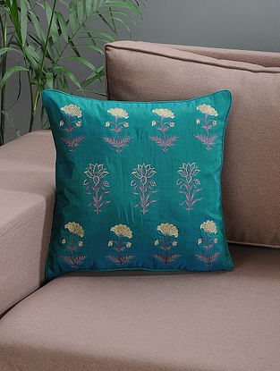 Teal Embroidered Silk Cushion Cover with Floral Motif