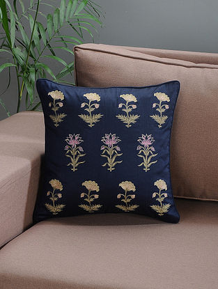 Navy Blue Embroidered Silk Cushion Cover with Floral Motif