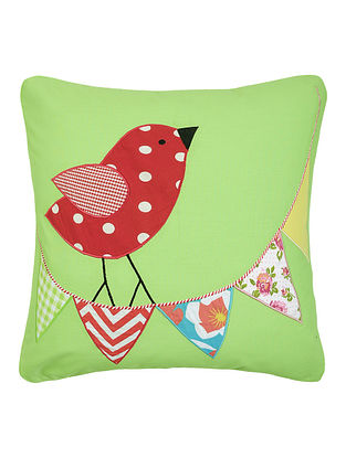 Green Cotton Cushion Cover with Bird Patchwork -16in x 16in