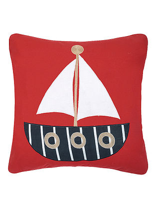 Red Cotton Cushion Cover with Boat Patchwork -16in x 16in