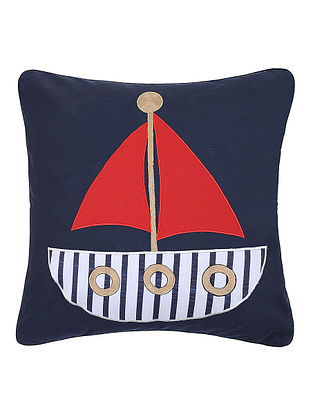 Blue Cotton Cushion Cover with Boat Patchwork -16in x 16in