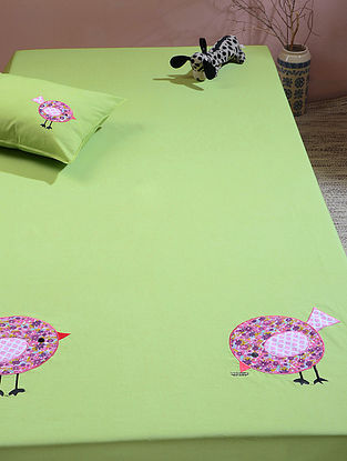 Green Cotton Single Bedsheet with Bird Patchwork