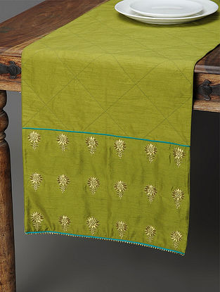 Green Silk Table Runner with Zari-embroidered Floral Motif