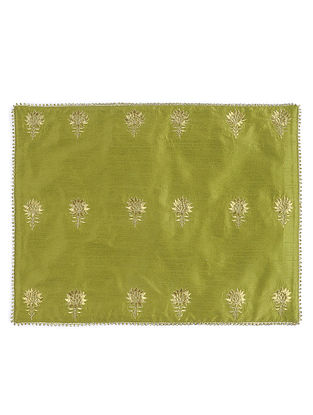 Green Silk Decorative Tablemat with Zari-embroidered Floral Motif