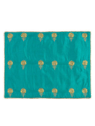 Turquoise Silk Decorative Tablemat with Zari-embroidered Floral Motif
