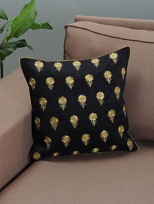 Black Silk Cushion Cover with Zari-embroidered Floral Motif