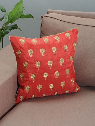 Red Silk Cushion Cover with Zari-embroidered Floral Motif