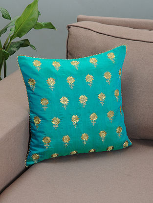 Turquoise Silk Cushion Cover with Zari-embroidered Floral Motif