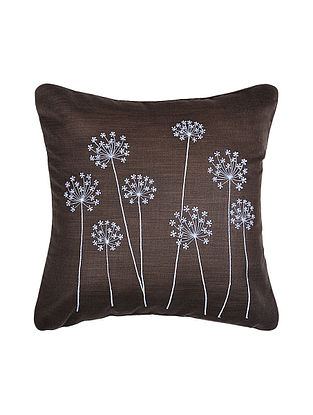 Brown Embroidered Silk Cushion Cover (16in x 16in)