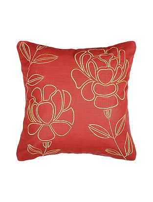 Red Embroidered Silk Cushion Cover (16in x 16in)