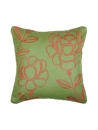 Green Embroidered Silk Cushion Cover (16in x 16in)