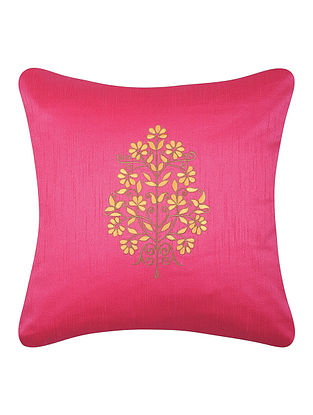 Pink-Yellow Dupion Silk Cushion Cover with Floral Design (16in x 16in)