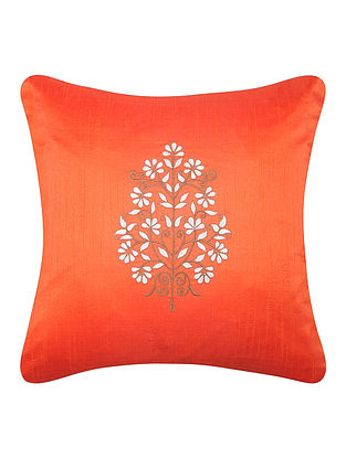 Orange-White Dupion Silk Cushion Cover with Floral Design (16in x 16in)