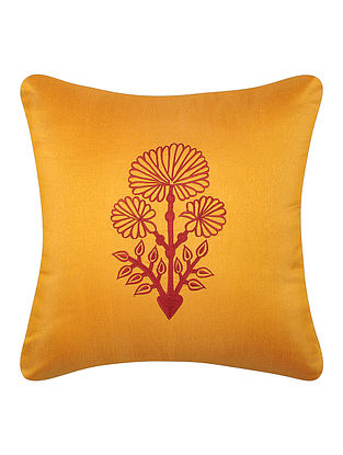 Yellow-Red Dupion Silk Cushion Cover with Floral Design (16in x 16in)