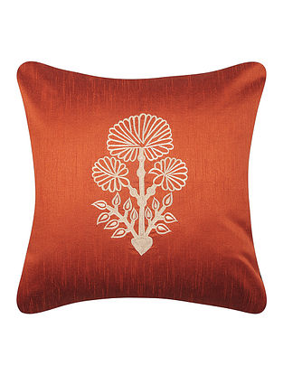 Rust-White Dupion Silk Cushion Cover with Floral Design (16in x 16in)