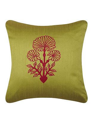 Green-Pink Dupion Silk Cushion Cover with Floral Design (16in x 16in)