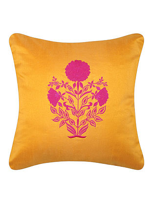 Yellow-Pink Dupion Silk Cushion Cover with Floral Design (16in x 16in)