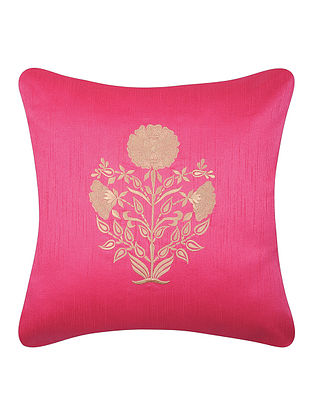 Pink-White Dupion Silk Cushion Cover with Floral Design (16in x 16in)