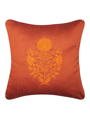 Orange-Yellow Dupion Silk Cushion Cover with Floral Design (16in x 16in)