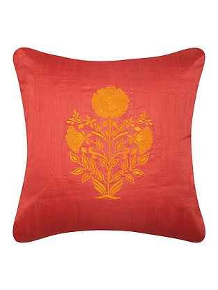 Red-Yellow Dupion Silk Cushion Cover with Floral Design (16in x 16in)