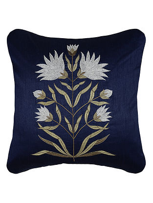 Blue Zari Embroidered Dupion Silk Cushion Cover with Floral Work (16in x 16in)