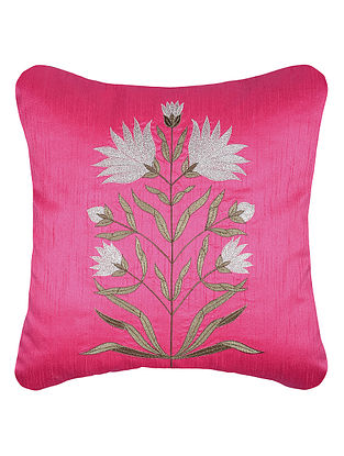 Pink Zari Embroidered Dupion Silk Cushion Cover with Floral Work (16in x 16in)