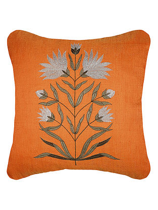 Orange Zari Embroidered Dupion Silk Cushion Cover with Floral Work (16in x 16in)