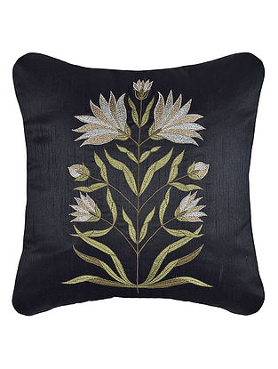 Black Zari Embroidered Dupion Silk Cushion Cover with Floral Work (16in x 16in)