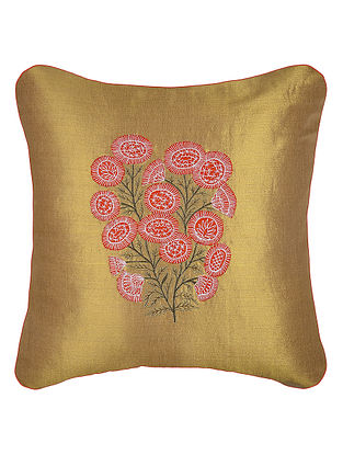 Golden-Red Embroidered Cotton Tissue Cushion Cover with Patch Work (16in x 16in)