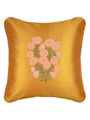 Golden-Orange Embroidered Cotton Tissue Cushion Cover with Patch Work (16in x 16in)