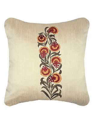Ivory Embroidered Dupion Silk Cushion Cover with Mughal Buta (16in x 16in)