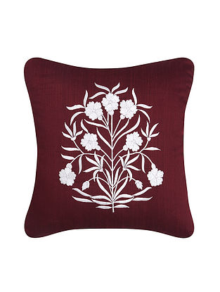 Maroon-White Embroidered Dupion Silk Cushion Cover (16in x 16in)