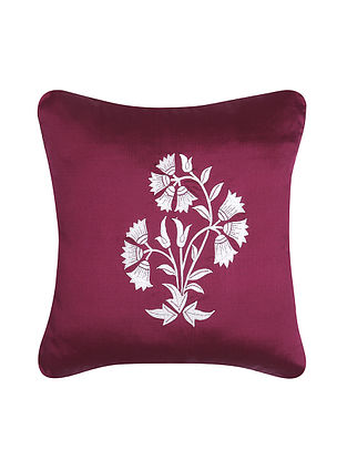 Purple-White Embroidered Cotton Cushion Cover (16in x 16in)