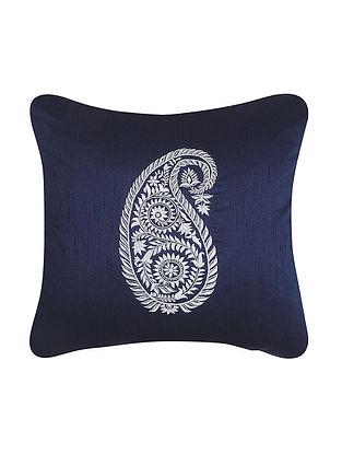 Navy-White Embroidered Dupion Silk Cushion Cover (16in x 16in)