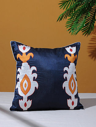Ikat Inspired Navy Poly-Dupion Cushion Cover (16in x 16in)