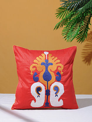 Ikat Inspired Red Poly-Dupion Cushion Cover (16in x 16in)