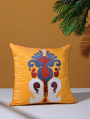 Ikat Inspired Yellow Poly-Dupion Cushion Cover (16in x 16in)