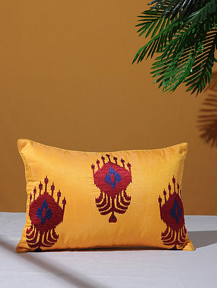 Ikat Inspired Yellow Poly-Dupion Cushion Cover (18in x 12in)