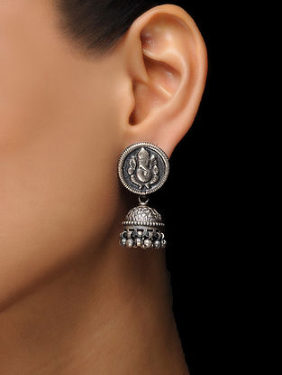 Tribal Silver Jhumkis with Lord Ganesha Motif