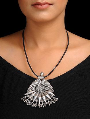 Black Thread Silver Necklace with Bird Design