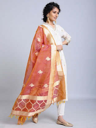 Orange-Golden Handloom Banarasi Cotton Dupatta