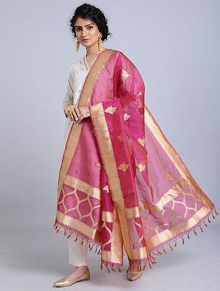 Pink-Golden Handloom Banarasi Cotton Dupatta