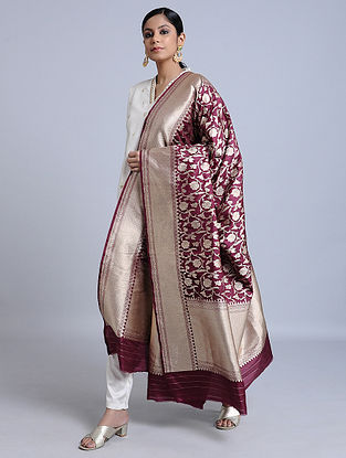 Maroon Handloom Benarasi Silk Dupatta