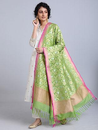 Green-Pink Handloom Benarasi Silk Dupatta