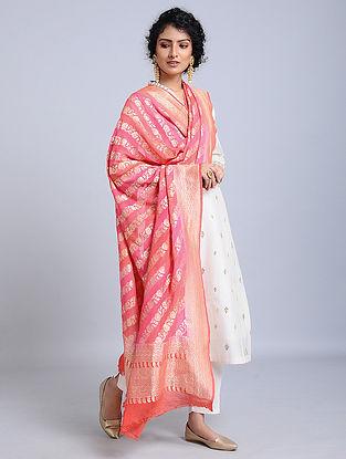 Pink Handloom Benarasi Chiffon Dupatta